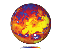 The globe shows outgoing longwave (infrared) radiation emitted by the Earth and atmosphere during the European heatwave of 2003, as determined from the CERES instrument on Aqua.