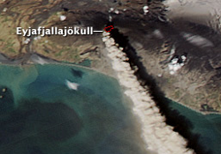 Aqua MODIS image showing plume of ash and steam rising from the Eyjafjallajökull Volcano